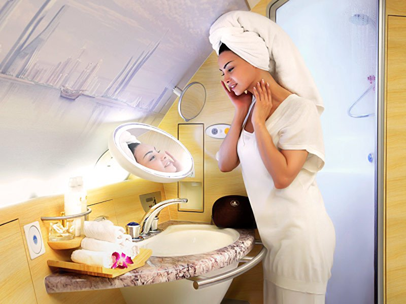 Emirates onboard shower