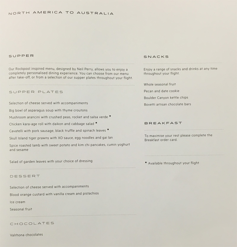 Qantas business class food menu