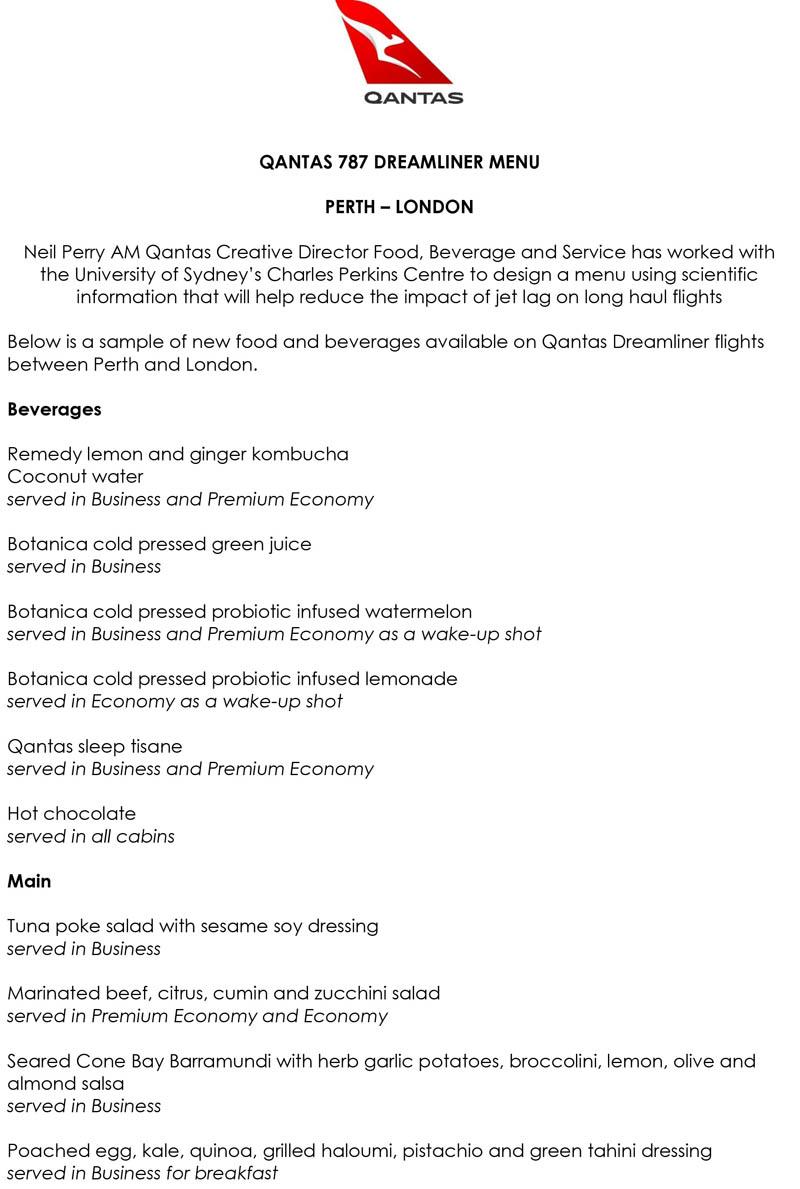 Qantas unveils menu to help reduce jetlag on Perth-London